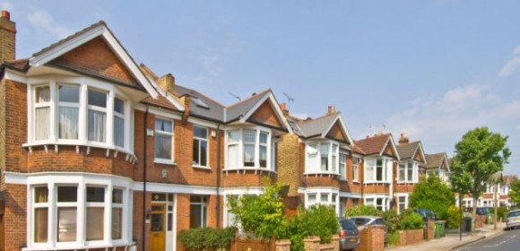 A row of typical 3 bed semi detached Victorian/Edwardian houses in suburbia.. Image shot 05/2008. Exact date unknown.